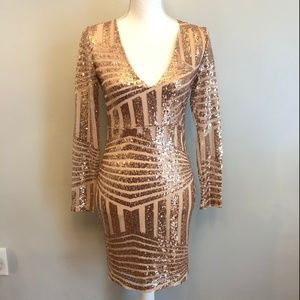 NWT Pink Sequin Party Dress Womens  XS